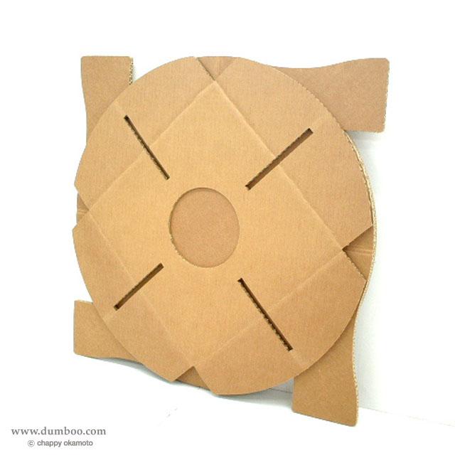 強化ダンボール製ちゃぶ台の折り畳み状態