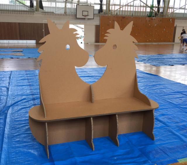 強化ダンボール製お馬ベンチ制作ワークショップ
