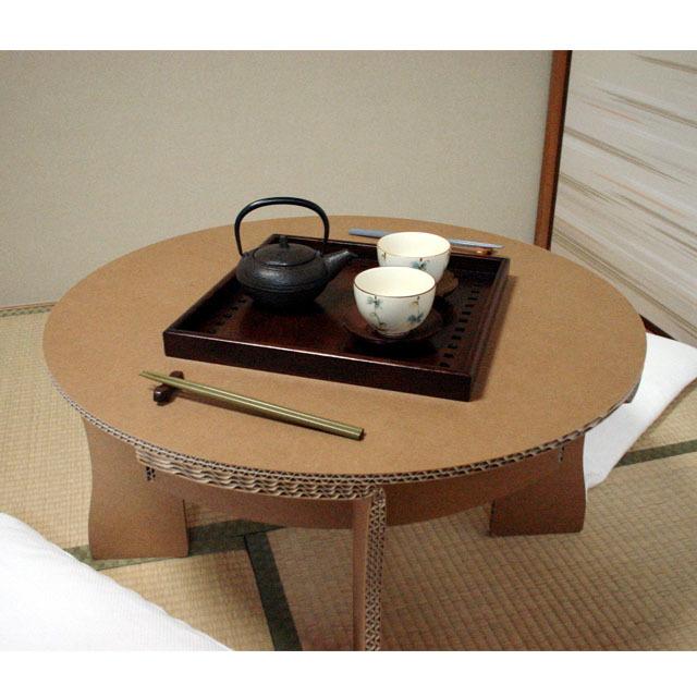 強化ダンボール製ちゃぶ台の和室での使用例