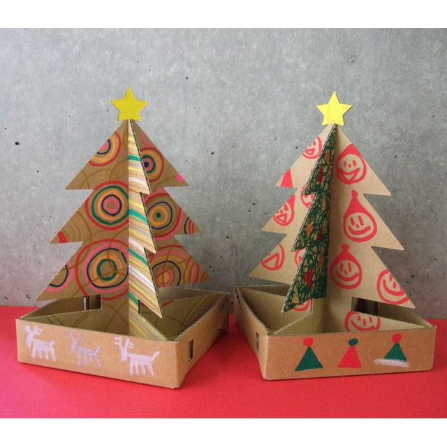 ダンボール製ミニクリスマスツリーセット着色例
